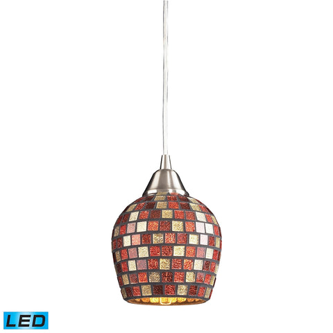 1 Light Pendant in Satin Nickel and Multi Mosaic Glass - LED Offering Up To 800 Lumens (60 Watt Equi