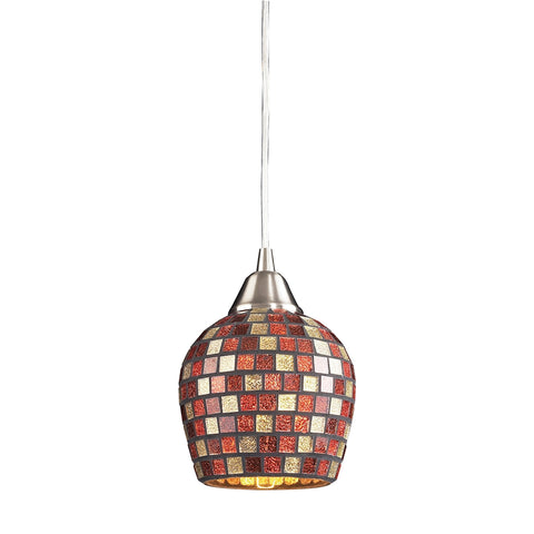 Fusion Collection 1-Light Mosaic Glss Pendant in Satin Nickel with A Multi Mosai