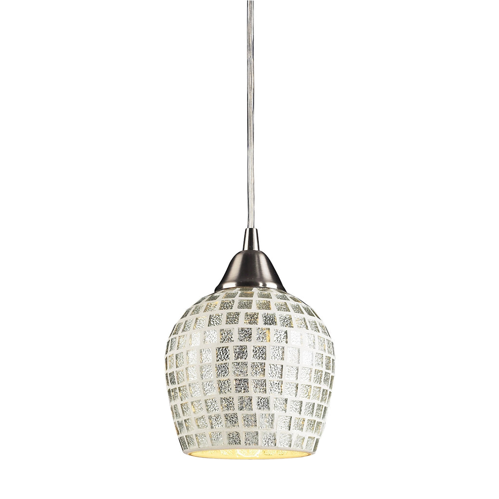 Fusion Collection 1-Light Mosaic Glss Pendant in Satin Nickel with A Silver Mosa