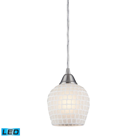 1 Light Pendant in Satin Nickel and White Mosaic Glass - LED Offering Up To 800 Lumens (60 Watt Equi
