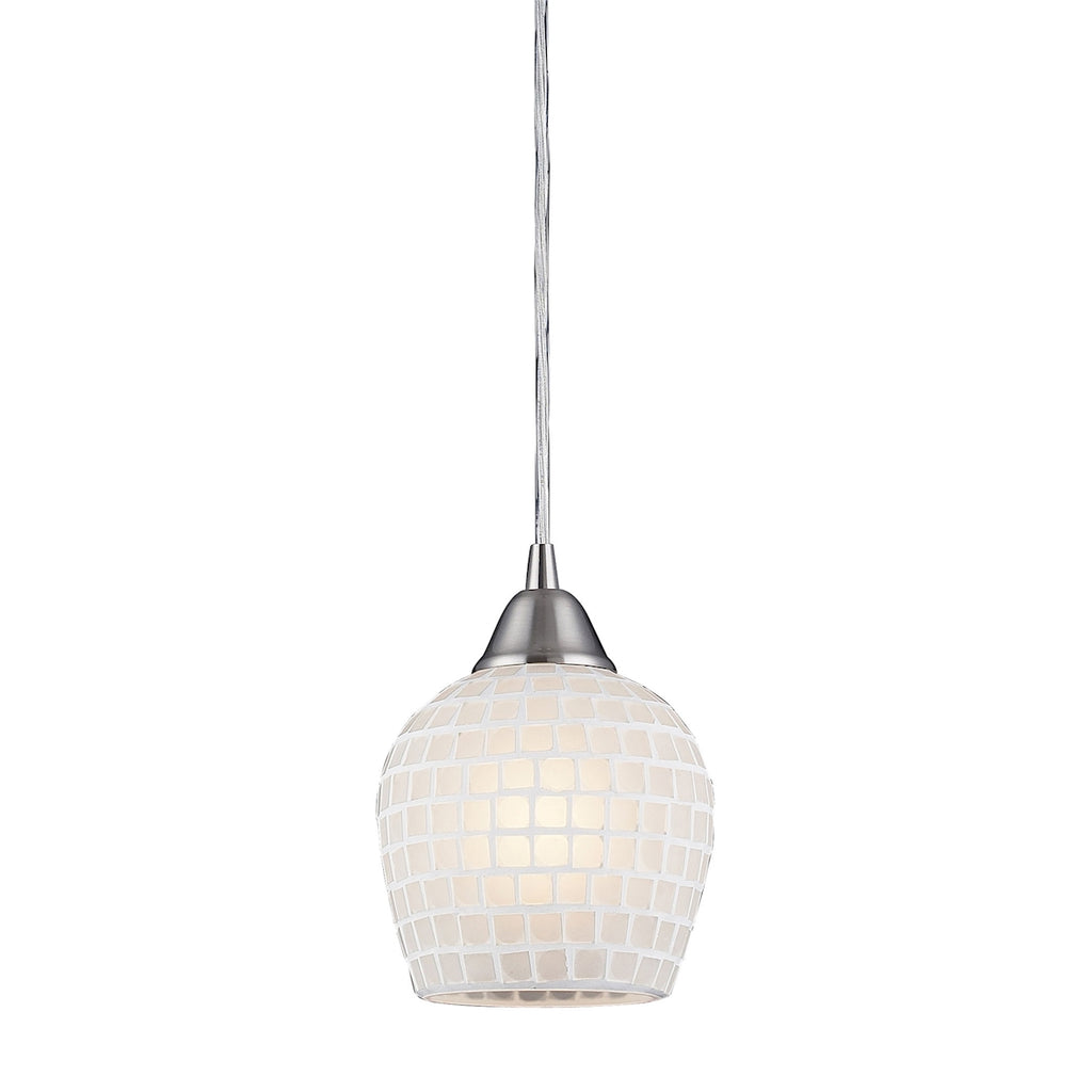 Fusion Collection Pendant with White Mosaic Glass