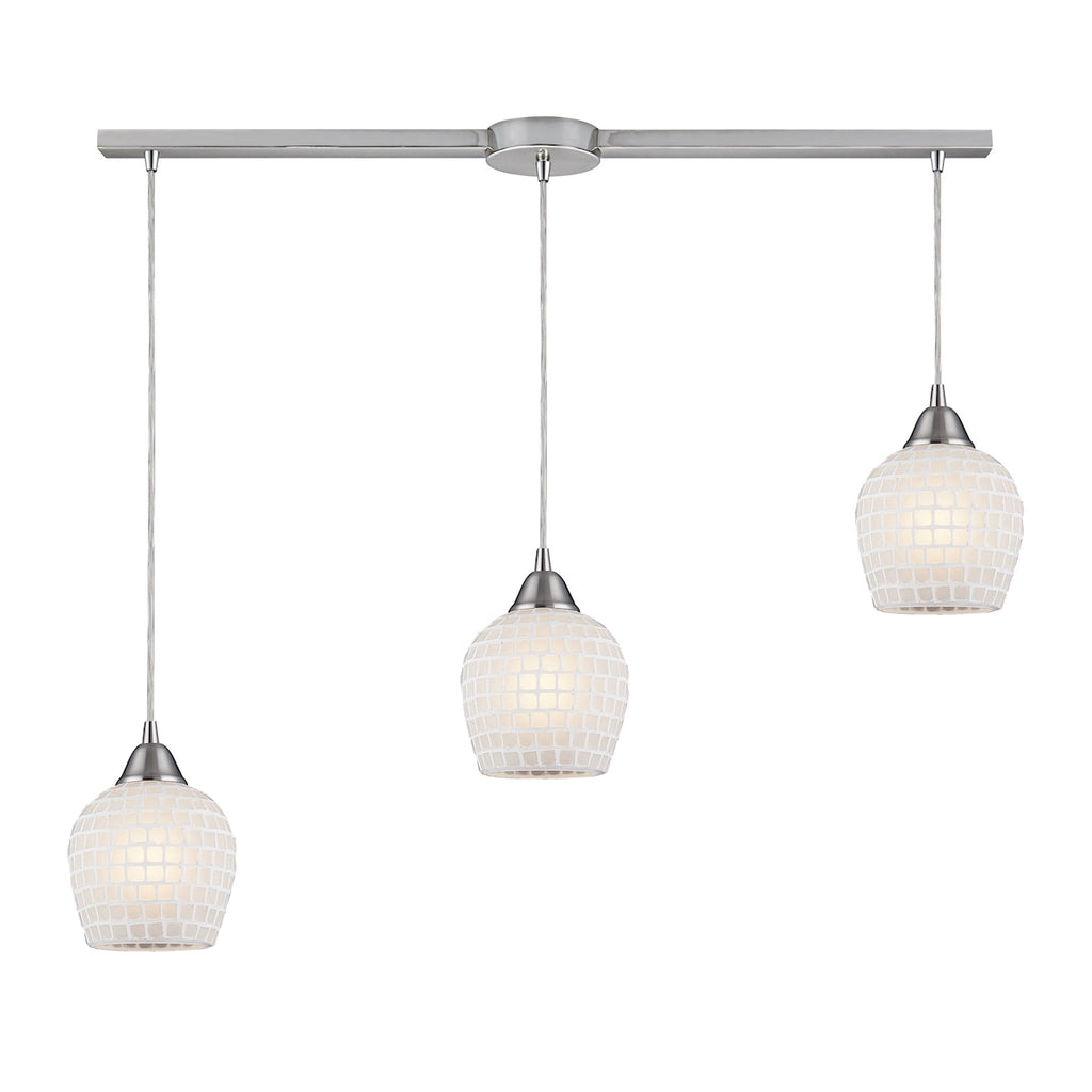 Fusion 3-Light Linear Pendant White in Satin Nickel