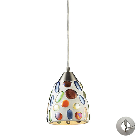 Gemstones 1 Light Pendant in Satin Nickel and Sculpted Multicolor Glass - Includes Adapter Kit
