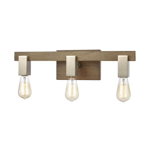 Axis 3-Light Vanity Light in Light Wood and Satin Nickel