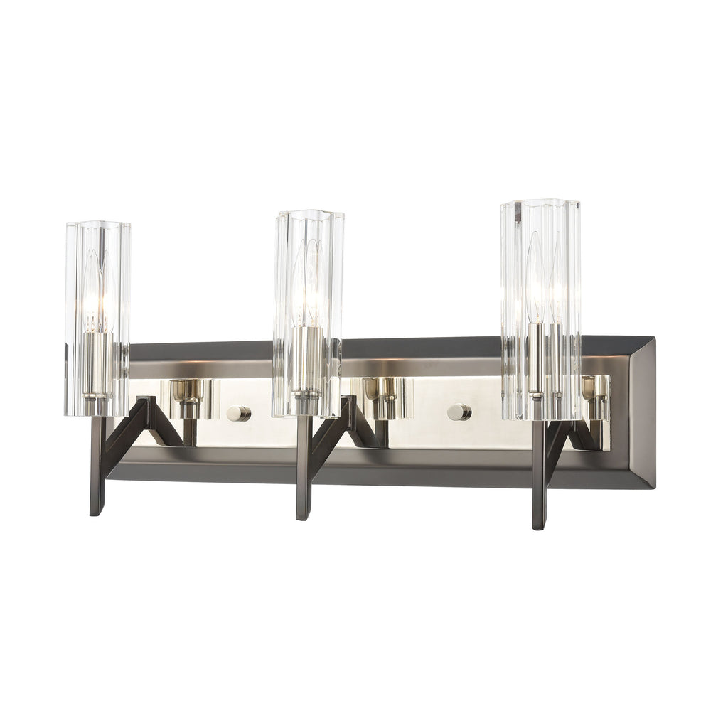 Aspire 3-Light Vanity Light in Black Nickel with Ribbed Crystal