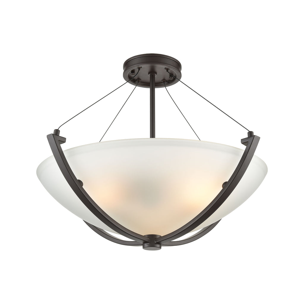 Roebling 3-Light Semi Flush Mount in Oil Rubbed Bronze with Frosted Glass