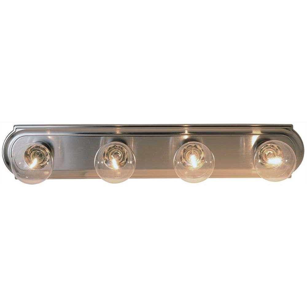 BEVELED EDGE VANITY FIXTURE, MAXIMUM FOUR 60 WATT INCANDESCENT G-25 MEDIUM BASE BULBS