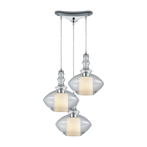 Alora 3 Light Triangle Pan Pendant in Polished Chrome with Opal White Glass Inside Clear Glass