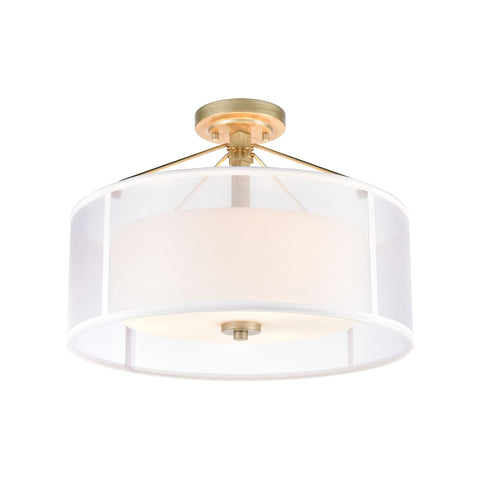 Diffusion 3-Light Semi Flush Mount in Aged Silver with Frosted Glass Inside Silver Organza Shade