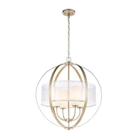 Diffusion 4-Light Pendant in Aged Silver with Frosted Glass Inside Silver Organza Shade