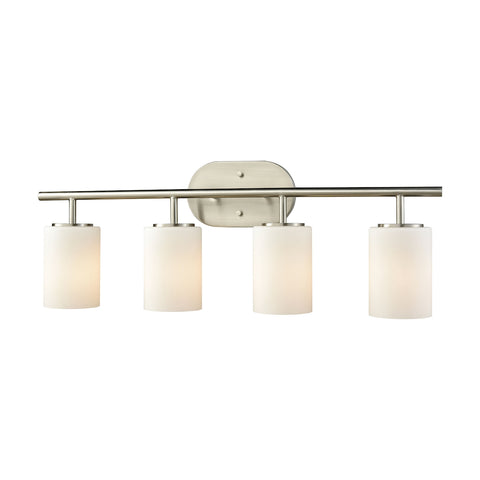 Pemlico 4-Light Vanity in Satin Nickel with White Glass