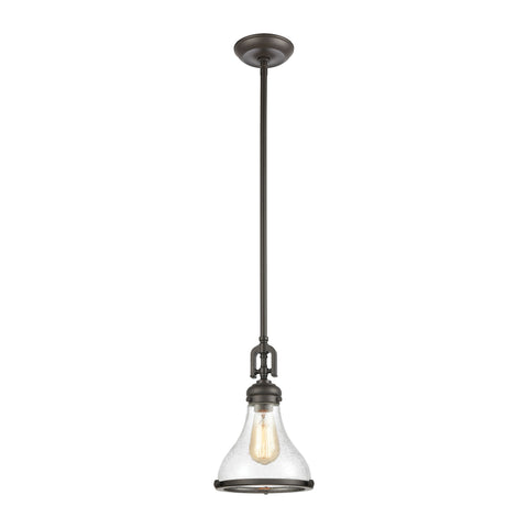Rutherford 1-Light Mini Pendant in Oil Rubbed Bronze with Seedy Glass