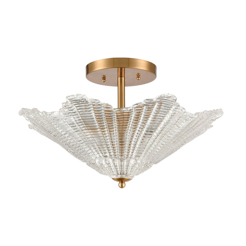Radiance 4-Light Semi Flush in Satin Brass with Clear Textured Glass