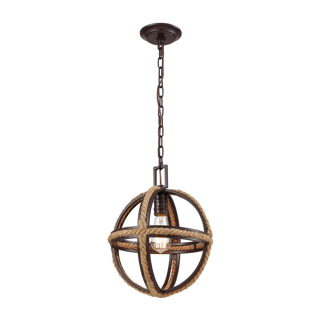 Natural Rope 1 Pendant Oil Rubbed Bronze