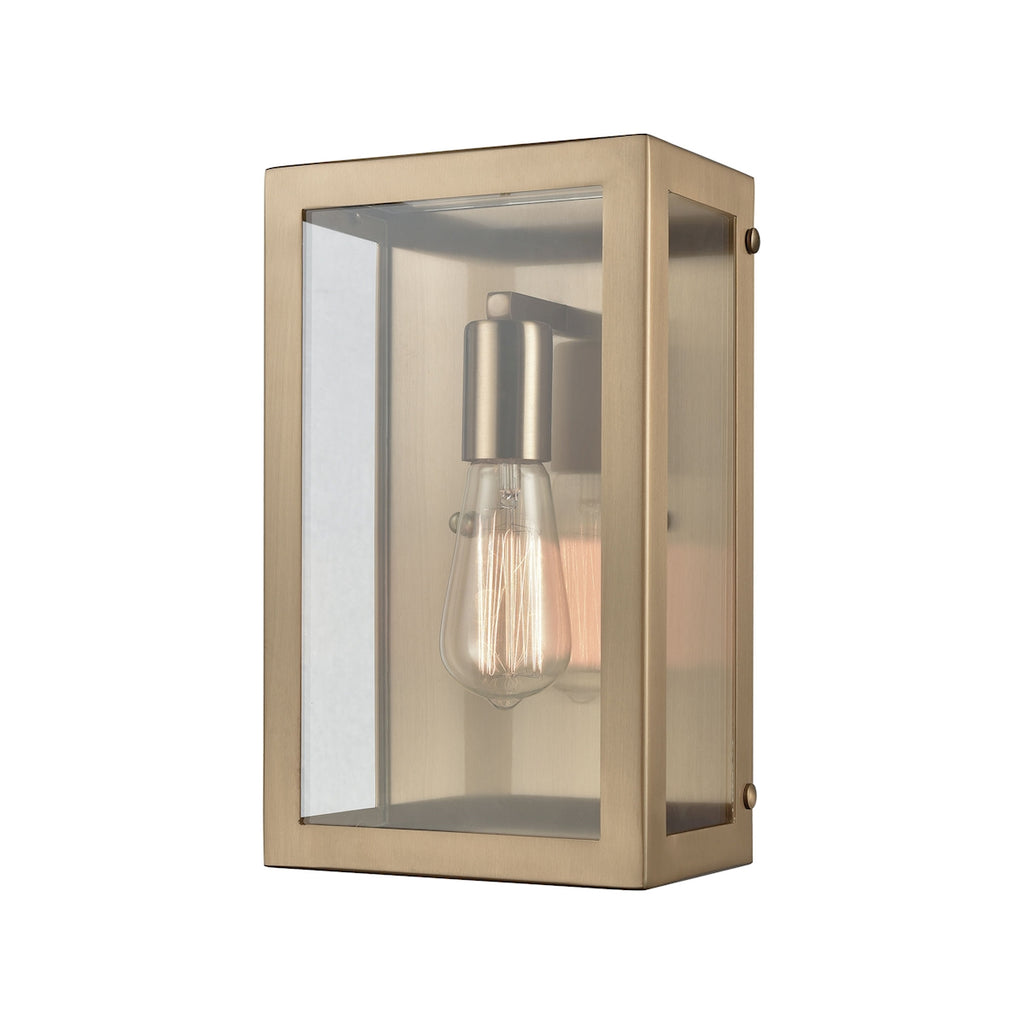 Parameters 1 Light Sconce in Satin Brass with Clear Glass