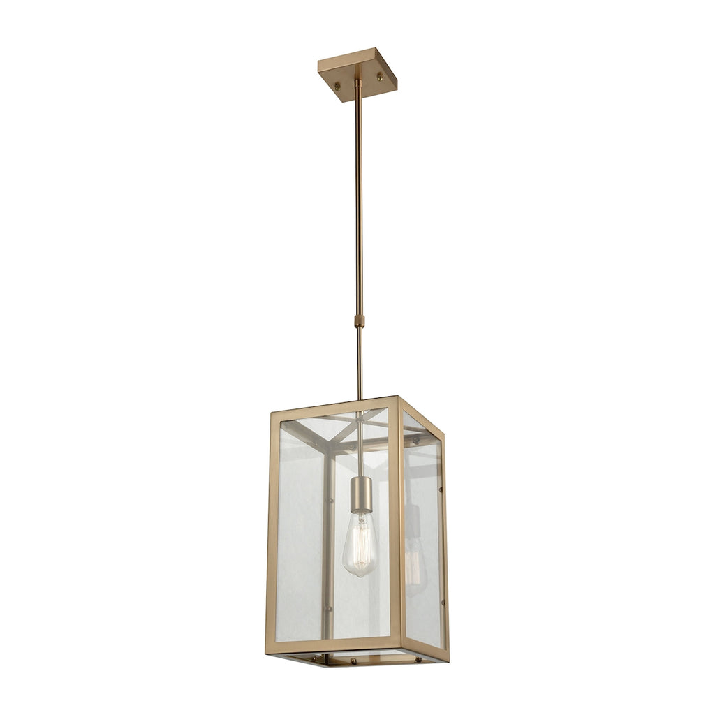Parameters 1 Light Chandelier in Satin Brass with Clear Glass