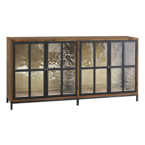 Modern America 4-Door Cabinet in Timber and Metal with Hand-poured Glass