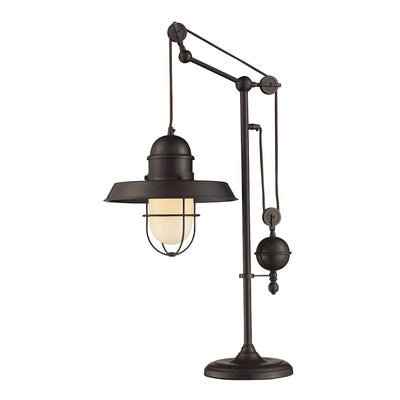 Farmhouse Adjustable Table Lamp in Oiled Bronze