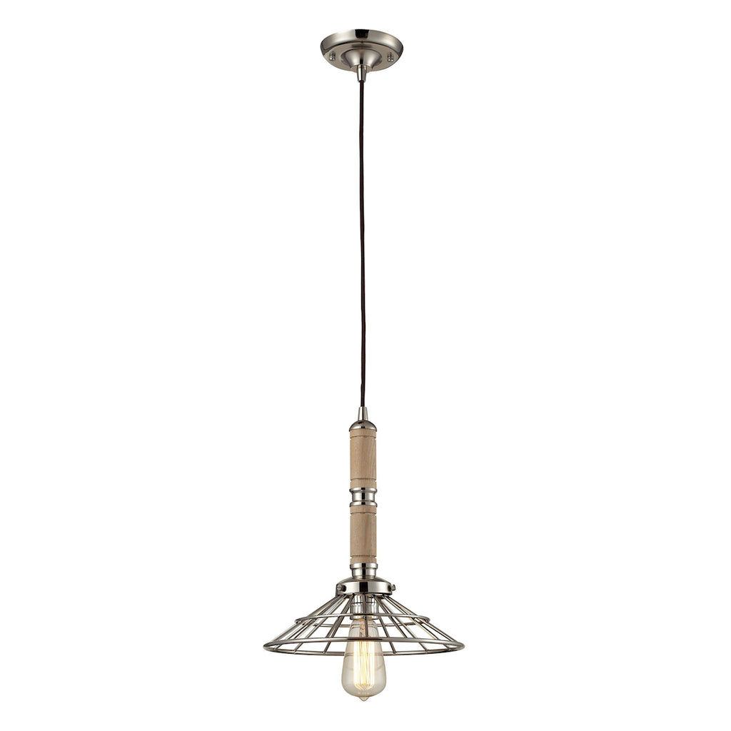 1 light wood pendant in Polished Nickel