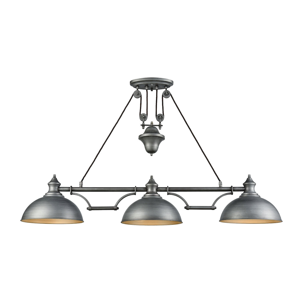 Farmhouse 3 Light Pulldown Island Light in Weathered Zinc