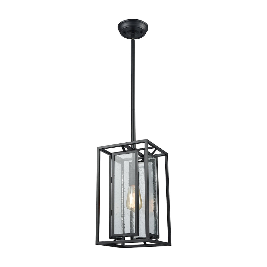 Eastgate 1 Light Pendant in Textured Black with Seedy Glass