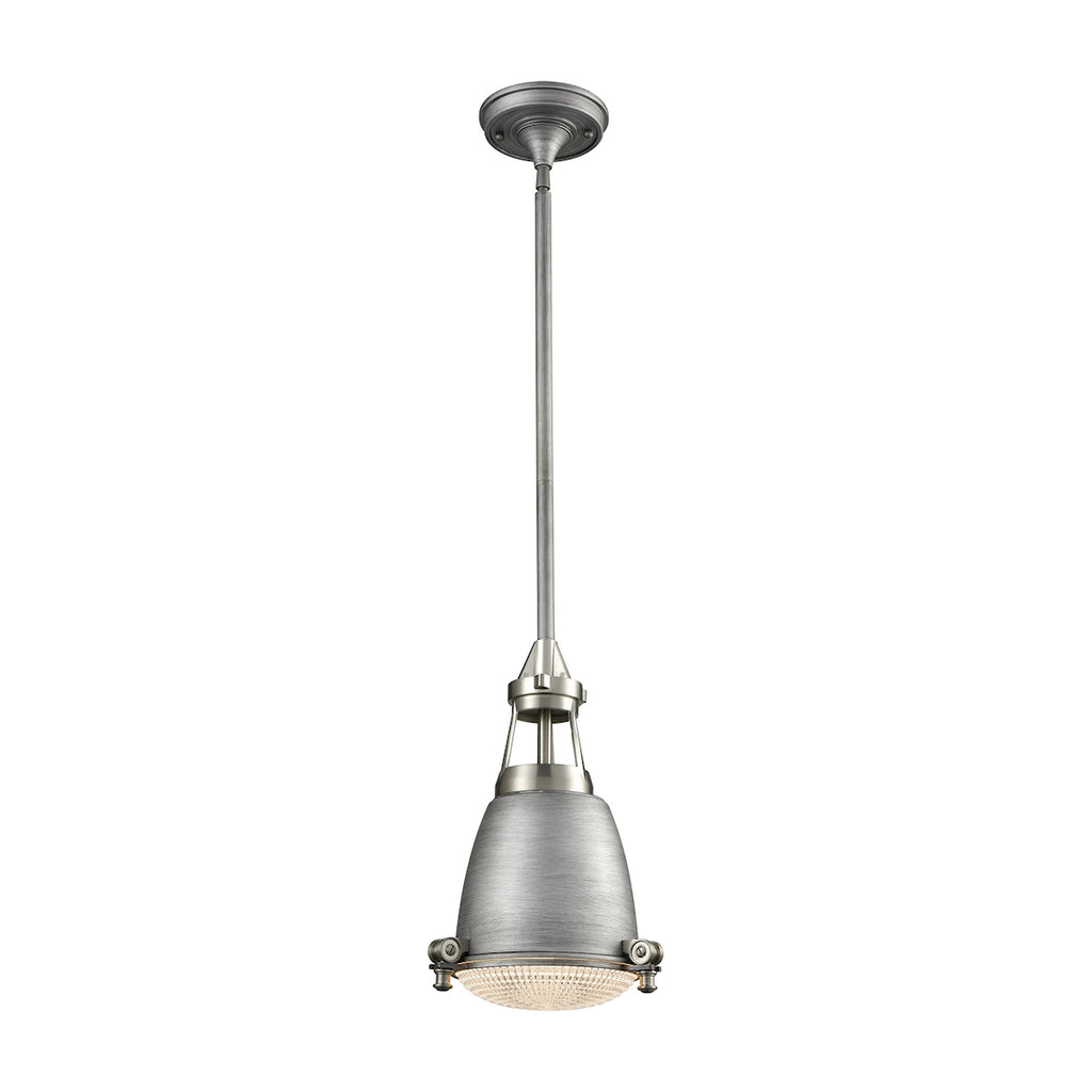 Sylvester 1 Light Pendant in Weathered Zinc and Satin Nickel with Halophane Glass Diffuser