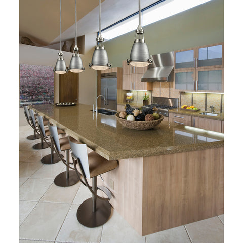 Sylvester 1-Light Mini Pendant in Satin Nickel and Weathered Zinc with Metal Shade