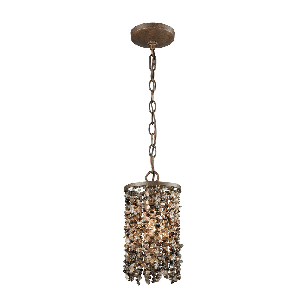 Agate Stones 1 Light Pendant in Weathered Bronze with Dark Bronze Agate Stones - Includes Recessed L