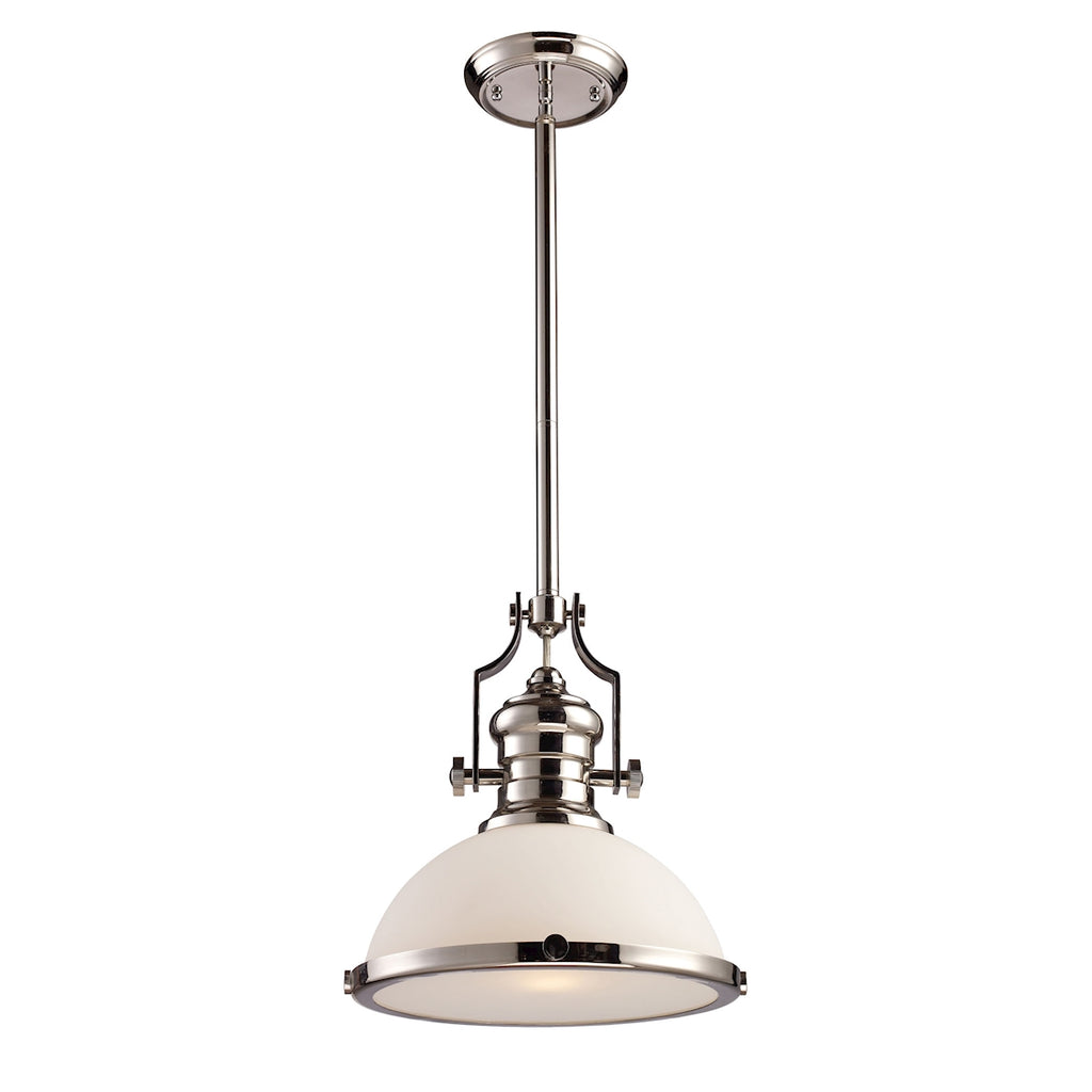 Chadwick 1-Light Pendant in Polished Nickel with White Glass