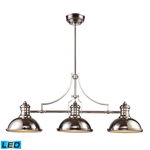Chadwick 3-Light Billiard/Island Light in Polished Nickel - LED, 800 Lumens (2400 Lumens Total) With