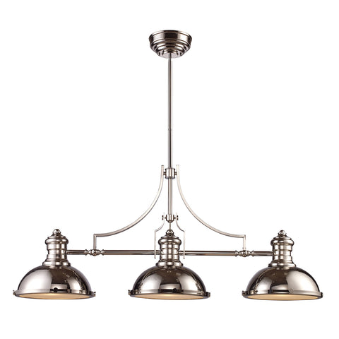 Chadwick 3-Light Billiard in Polished Nickel with Matching Shades