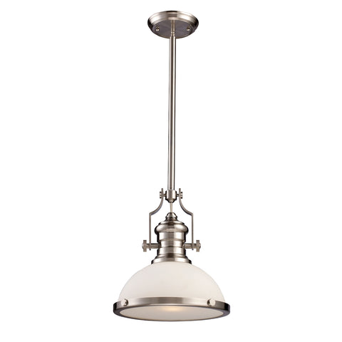 Chadwick 1-Light Pendant in Satin Nickel with White Glass