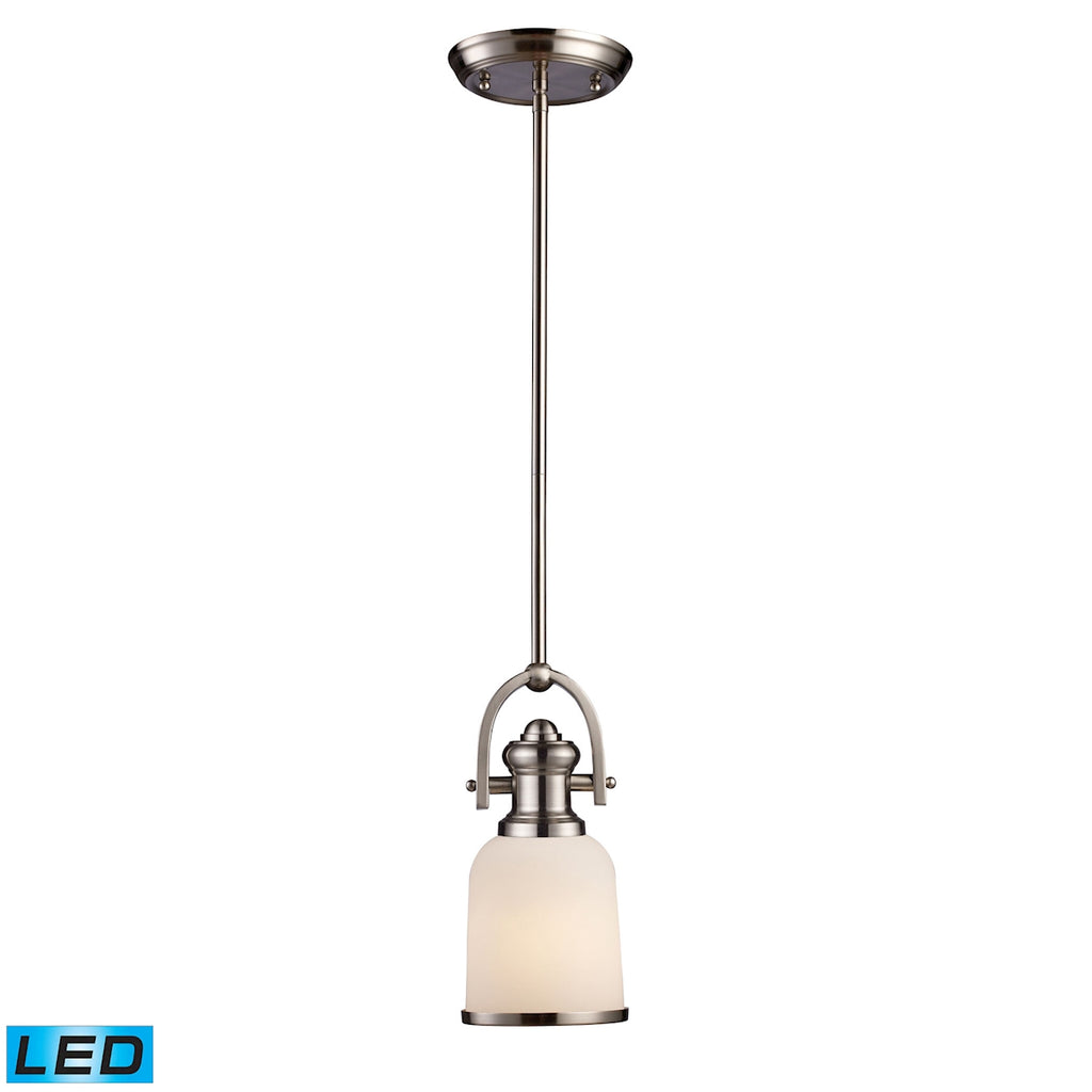Brooksdale 1-Light Pendant in Satin Nickel - LED Offering Up To 800 Lumens (60 Watt Equivalent) With