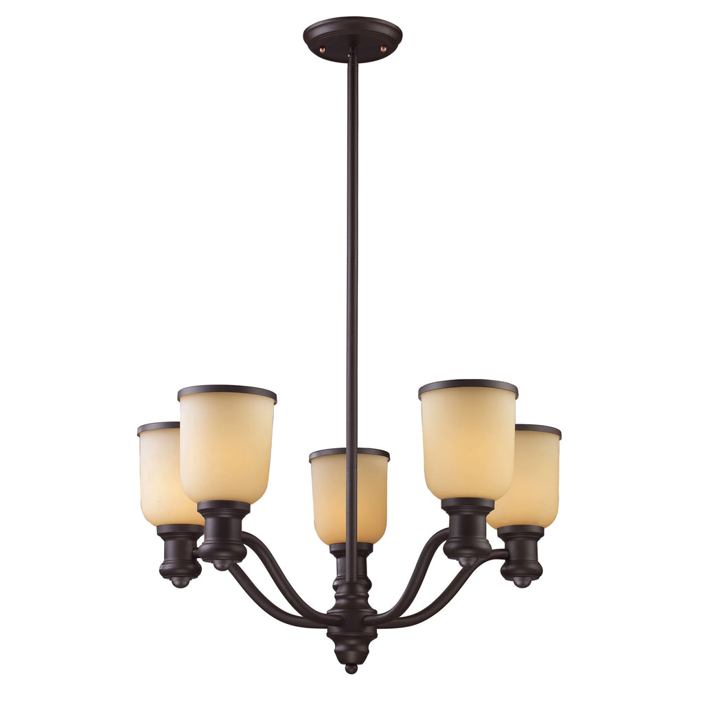 Brooksdale 5 Light Chandelier In Oiled Bronze And Amber Glass