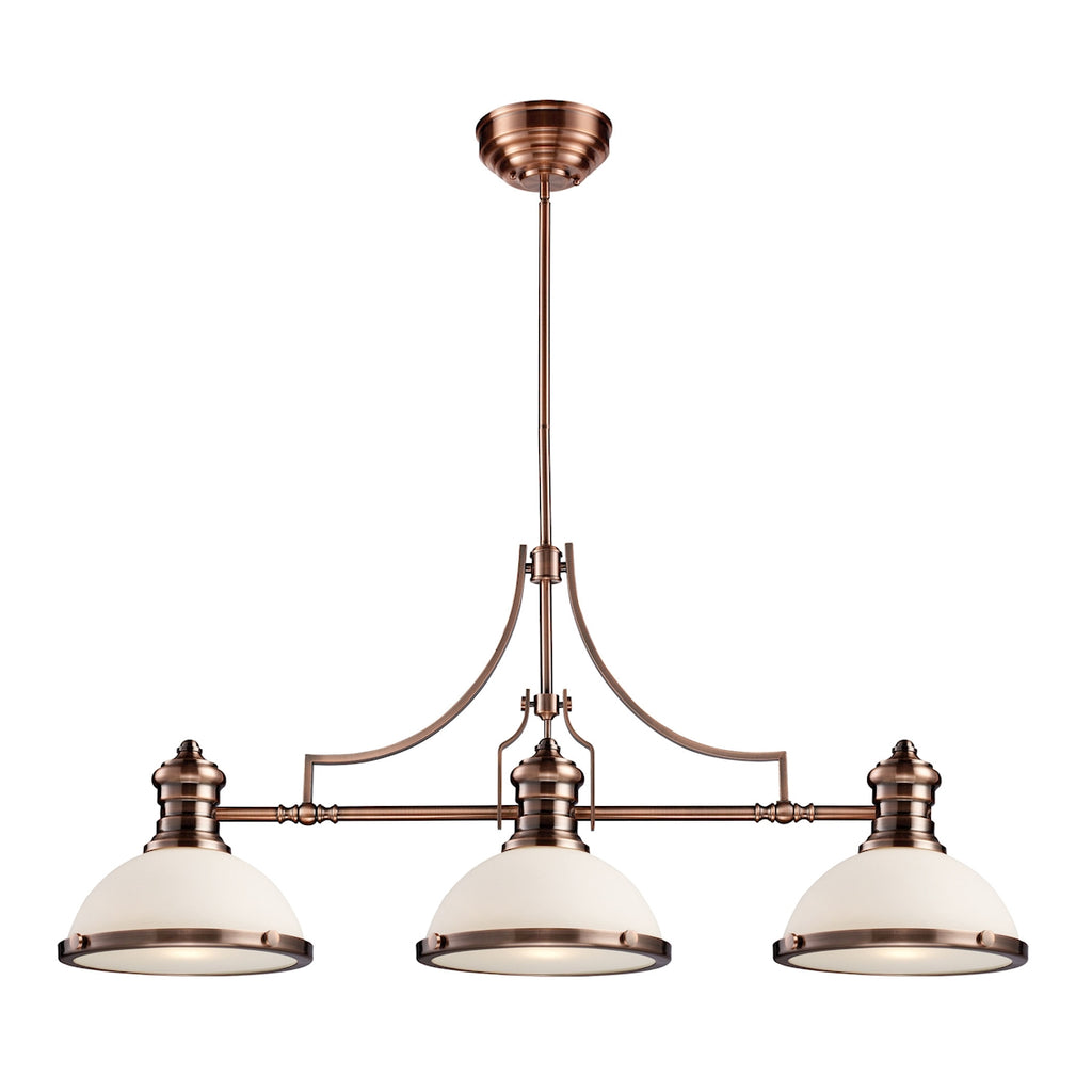 Chadwick 3-Light Billiard in Antique Copper