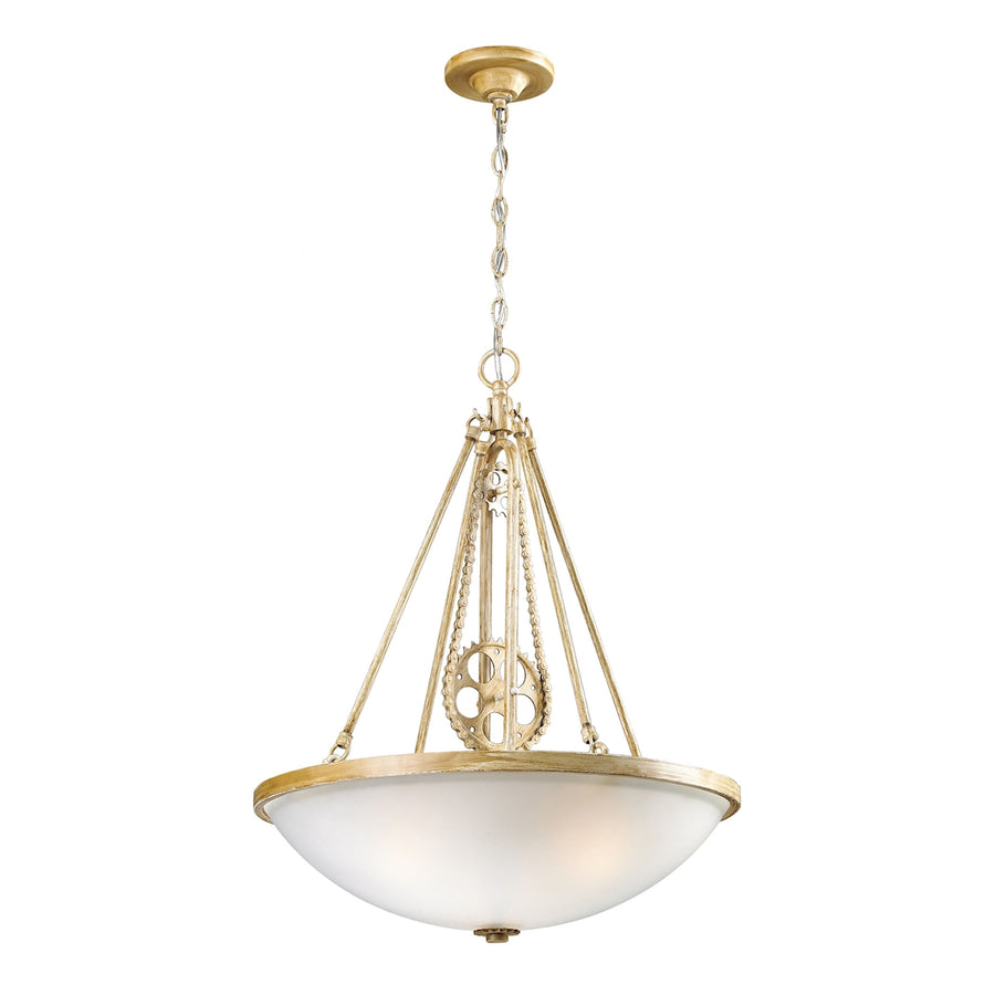 Cog and Chain 3-Light Pendant in Bleached Wood with white frosted glass**