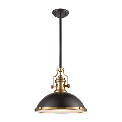 Chadwick 1-Light Pendant in Oil Rubbed Bronze with Metal and Frosted Glass
