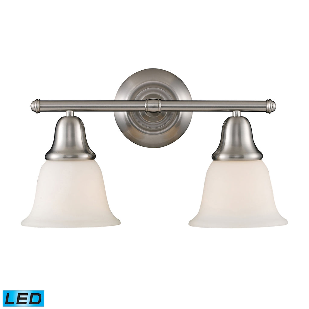 Berwick 2-Light Vanity in Brushed Nickel - LED, 800 Lumens (1600 Lumens Total) with Full Scale Dimmi