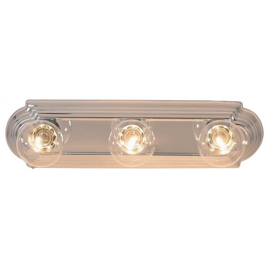 BEVELED EDGE VANITY STRIP LIGHT FIXTURE, MAXIMUM THREE 60 WATT INCANDESCENT G-25 MEDIUM BASE BULBS