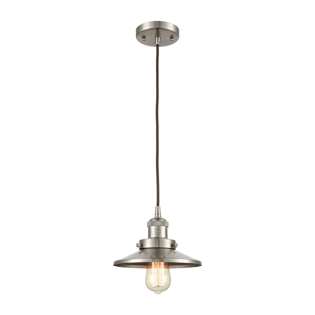 English Pub 1-Light Mini Pendant in Satin Nickel with Satin Nickel Metal Shade