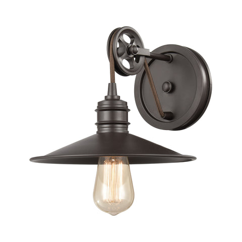 Spindle Wheel 1-Light Vanity Light in Oil Rubbed Bronze