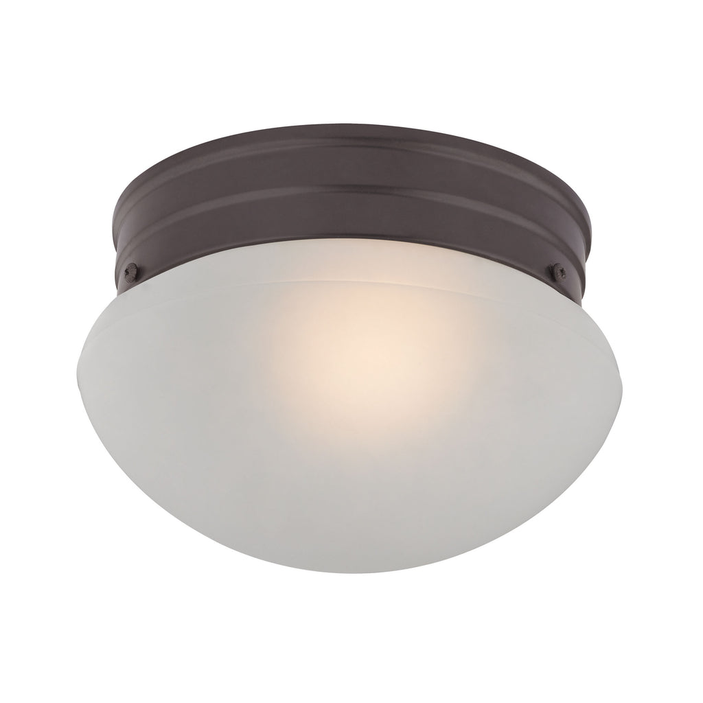 Mushroom Flushmount 1 Light Flush In Oil Rubbed Bronze And White Glass