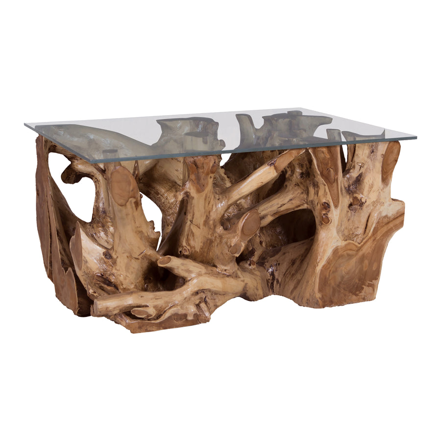TEAK ROOT COFFEE TABLE WITH GLASS TOP