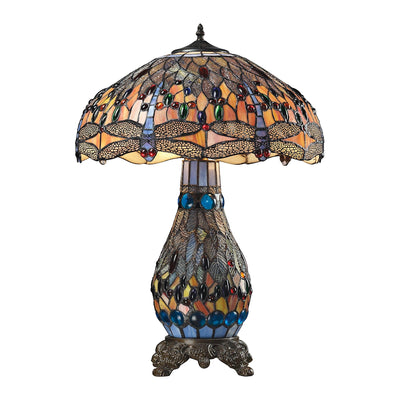 Dragonfly Collection 3-Light Table Lamp in Dark Bronze