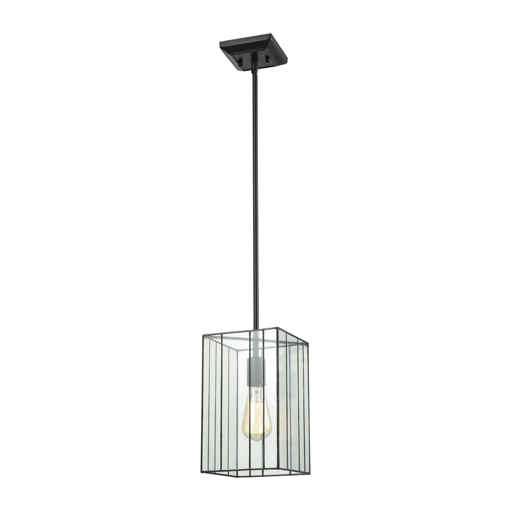 Lucian 1 Light Pendant in Oil Rubbed Bronze with Clear Glass - Includes Recessed Lighting Kit