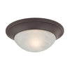 1 Light Flushmount In Oil Rubbed Bronze And Alabaster White Glass