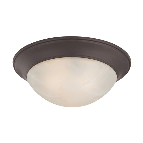 3 Light Flushmount In Oil Rubbed Bronze And Alabaster White Glass