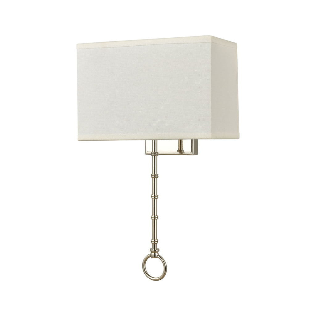 Shannon 2-Light Sconce in Polished Chrome with White Fabric Shade
