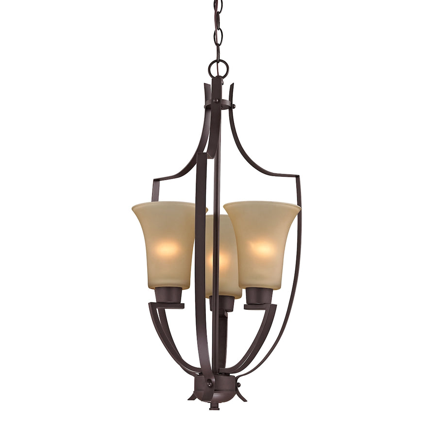 Foyer 3-Light Pendant in Oil Rubbed Bronze with Light Amber Glass