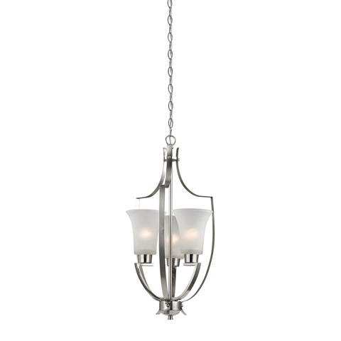 Foyer 3 Light Pendant In Brushed Nickel